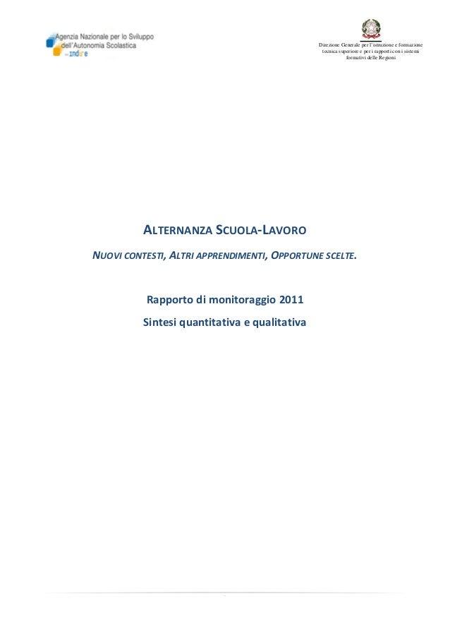 Direzione Generale per l'istruzione e formazione tecnica superiore e per i rapporti con i sistemi formativi delle Regioni ...