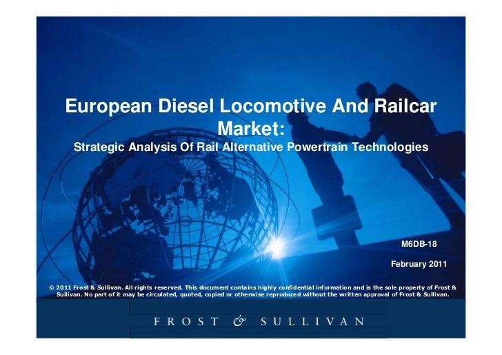 European Diesel Locomotive And Railcar Market: Strategic Analysis Of Rail Alternative Powertrain Technologies