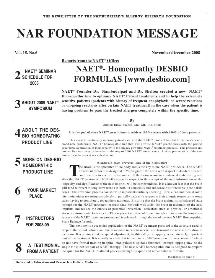 THE NEWSLETTER OF THE NAMBUDRIPAD'S ALLERGY RESEARCH FOUNDATION      NAR FOUNDATION MESSAGE Vol. 15. No.6                 ...