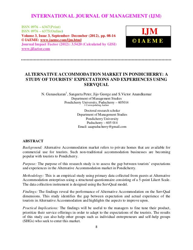 Alternative accommodation market in pondicherry  a study of tourists' expectations and experiences using servqual