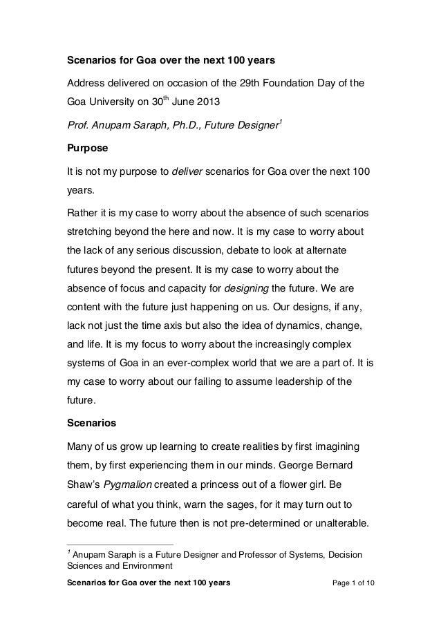 Scenarios  for  Goa  over  the  next  100  years                     1   Scenarios  for  ...
