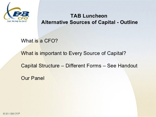 Alternative Sources of Capital - Chris James