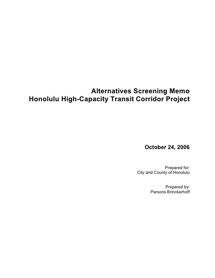 Alternatives Screening Memo: October 2006