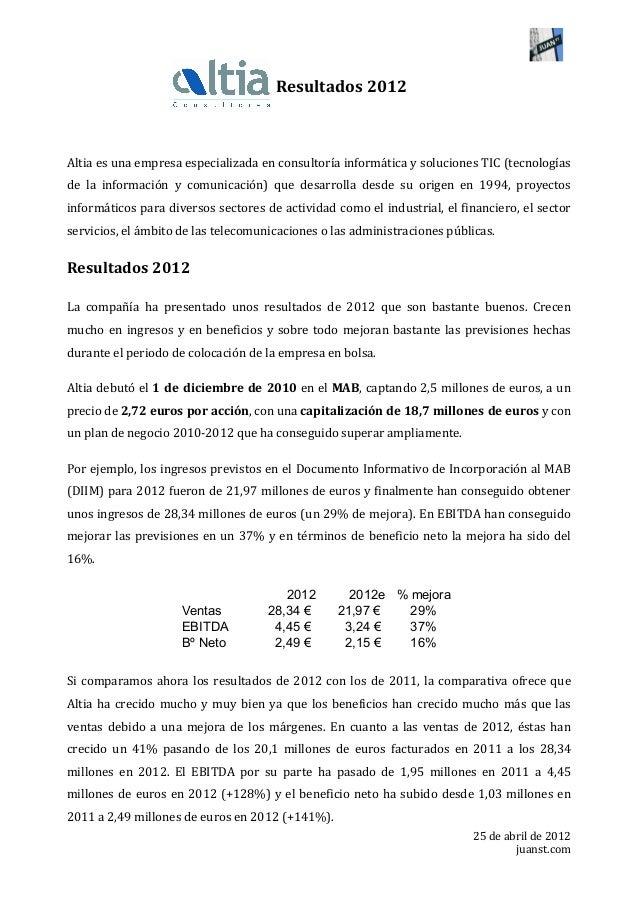 25 de abril de 2012 juanst.com             Resultados 2012  Altia es una ...