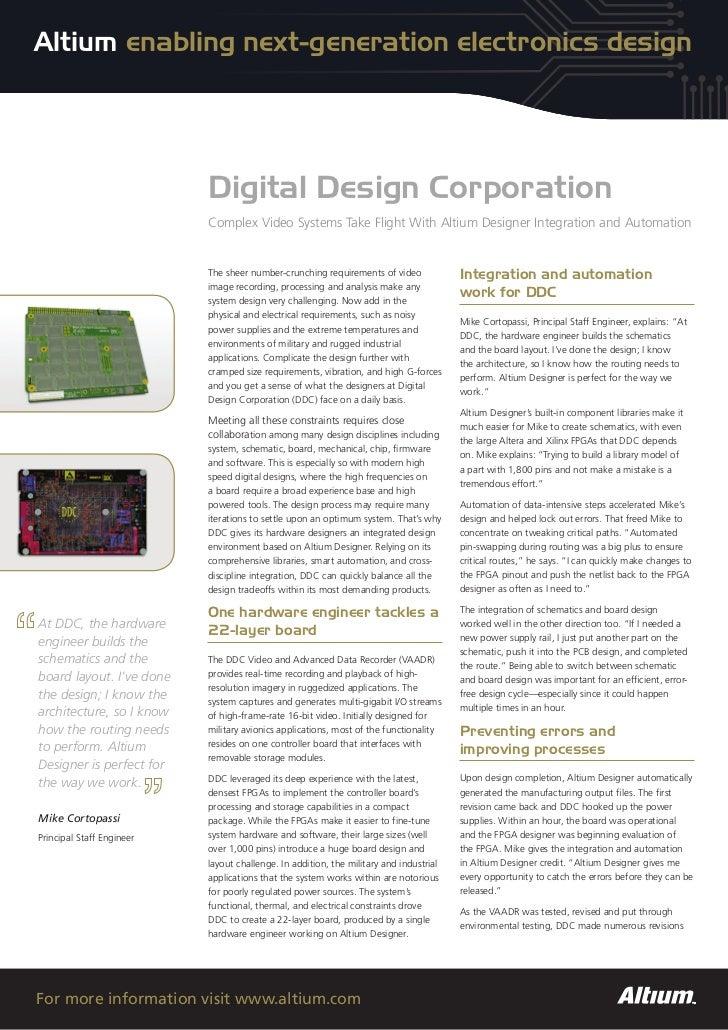 Altium enabling next-generation electronics design                           Digital Design Corporation                   ...
