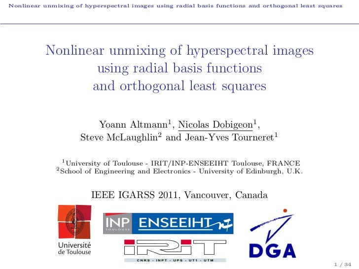 Nonlinear unmixing of hyperspectral images using radial basis functions and orthogonal least squares           Nonlinear u...