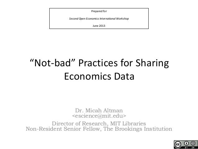 Best Practices for Sharing Economics Data