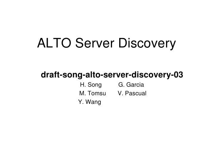 IETF 78 - Alto - Server Discovery