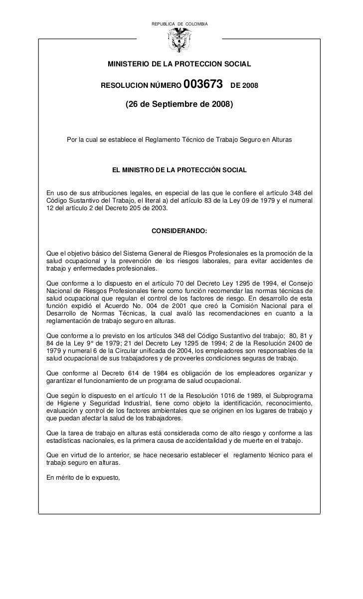 REPUBLICA DE COLOMBIA                     MINISTERIO DE LA PROTECCION SOCIAL                   RESOLUCION NÚMERO          ...