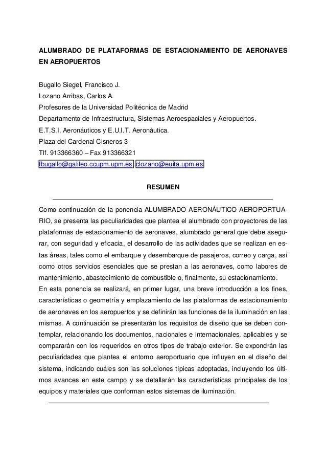 ALUMBRADO DE PLATAFORMAS DE ESTACIONAMIENTO DE AERONAVESEN AEROPUERTOSBugallo Siegel, Francisco J.Lozano Arribas, Carlos A...