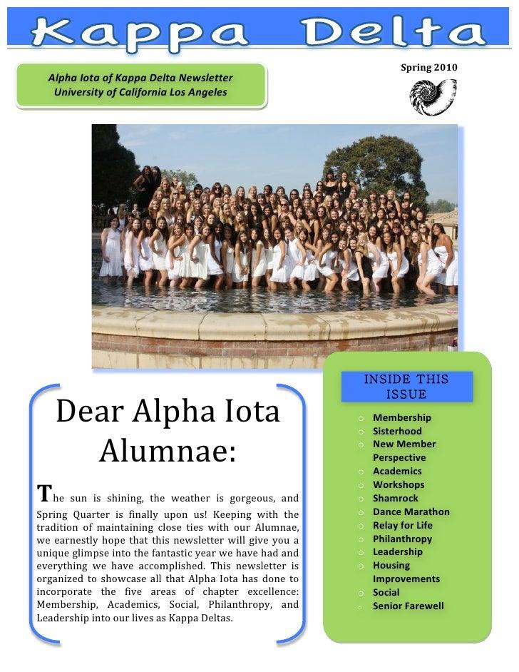 Spring2010     AlphaIotaofKappaDeltaNewsletter             UniversityofCaliforniaLosAngeles              ...