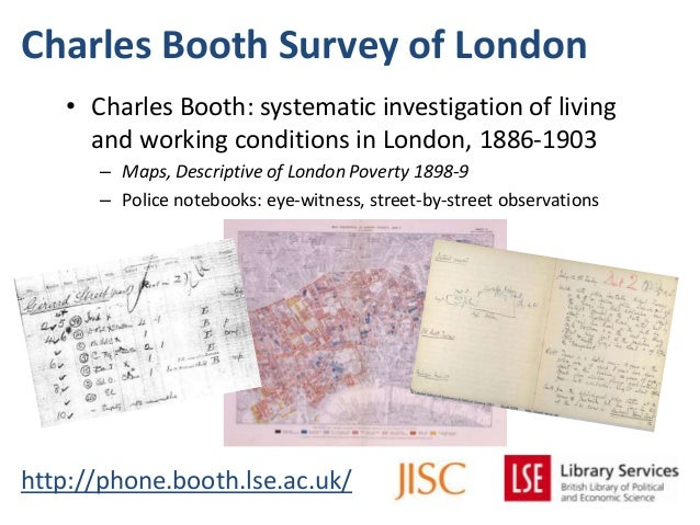 Charles Booth Survey of Londonhttp://phone.booth.lse.ac.uk/• Charles Booth: systematic investigation of livingand working ...