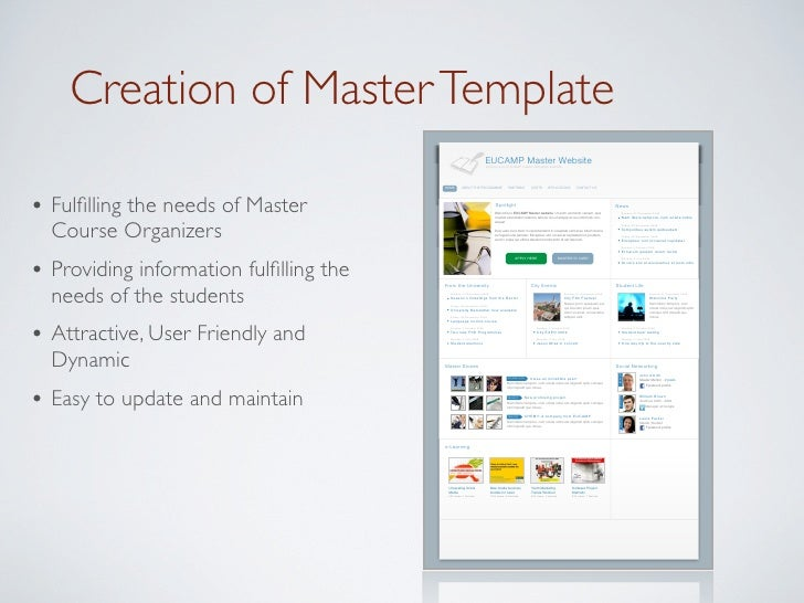 Creation of Master Template                                                                   EUCAMP Master Website       ...