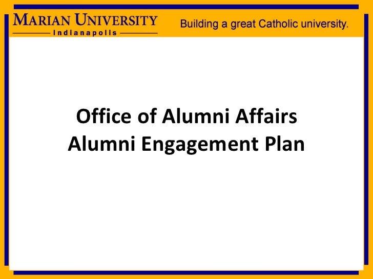Office of Alumni Affairs Alumni Engagement Plan