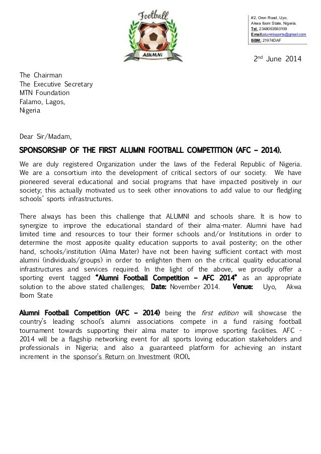 Sample Proposal Letter For Sports Funding Community Foundation – Sponsorship Proposal Cover Letter