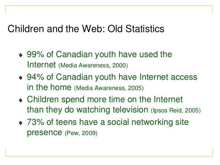 Children and the Web: Old Statistics    99% of Canadian youth have used the    Internet (Media Awareness, 2000)    94% of ...