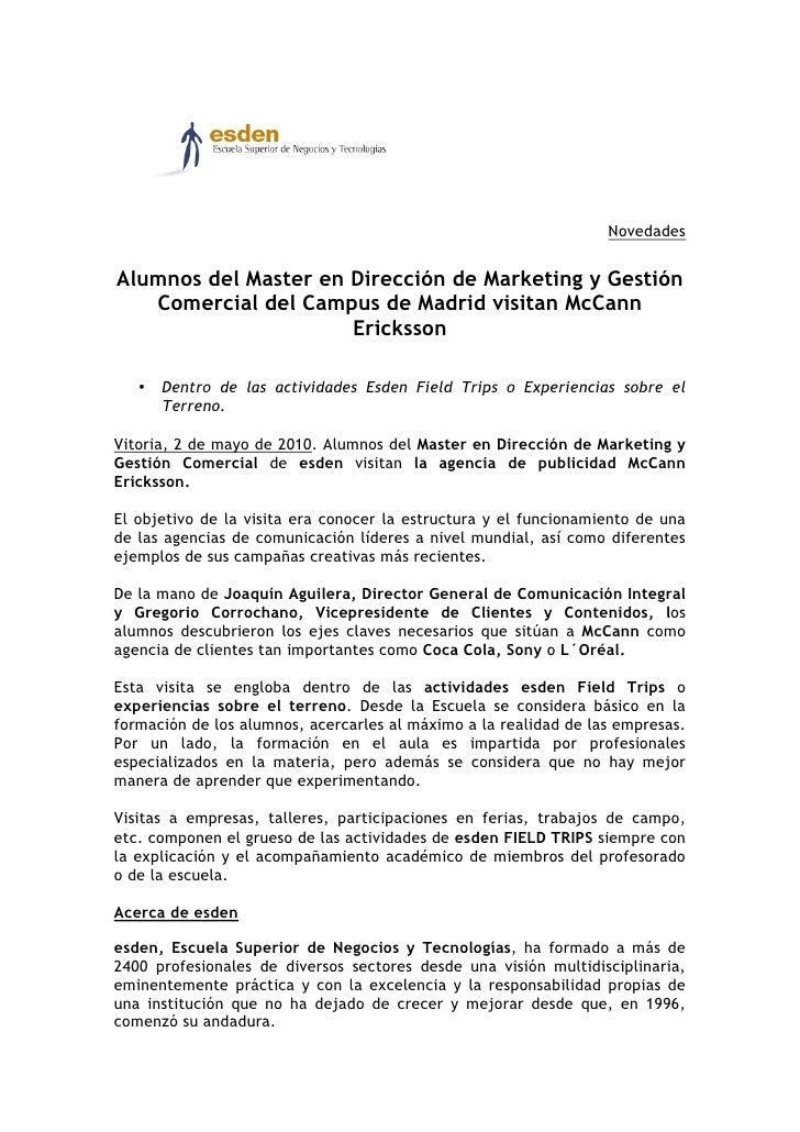 Novedades   Alumnos del Master en Dirección de Marketing y Gestión    Comercial del Campus de Madrid visitan McCann       ...