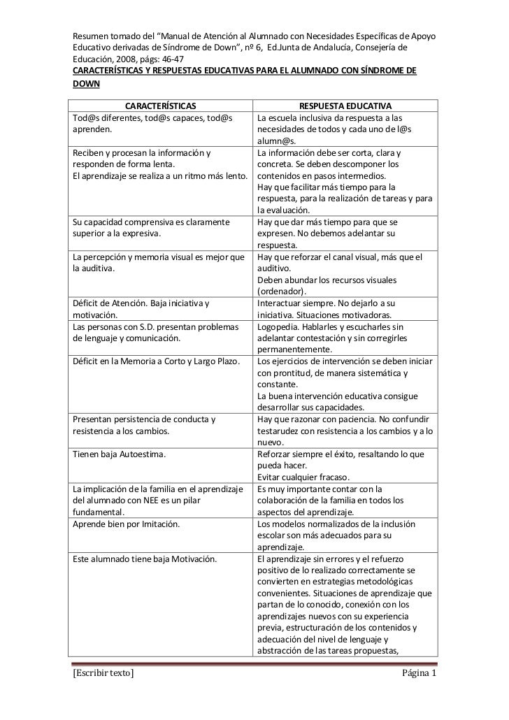 """Resumen tomado del """"Manual de Atención al Alumnado con Necesidades Específicas de ApoyoEducativo derivadas de Síndrome de ..."""