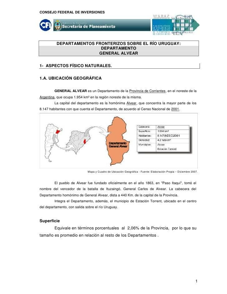 CONSEJO FEDERAL DE INVERSIONES               DEPARTAMENTOS FRONTERIZOS SOBRE EL RÍO URUGUAY:                           DEP...
