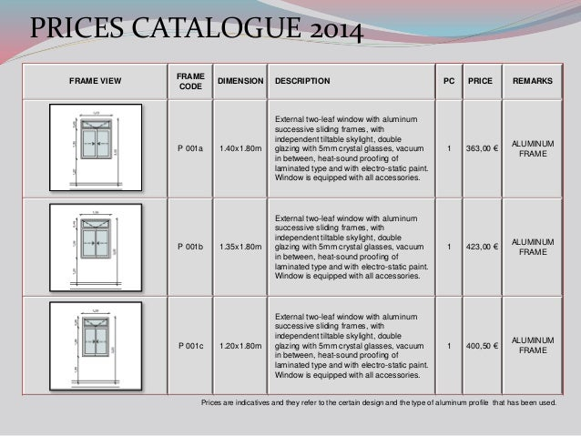 ALVEK FRAMES PRICES CATALOGUE 2014