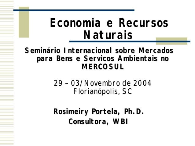 Economia e Recursos NaturaisSeminSemináário Internacional sobre Mercados rio para Bens e Servicos Ambientais no MERCOSULME...