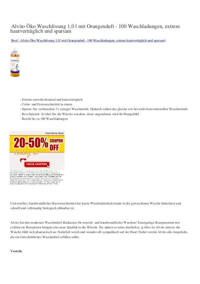 Alvito Öko Waschlösung 1,0 l mit Orangenduft - 100 Waschladungen, extremhautverträglich und sparsamBest!- Alvito Öko Wasch...