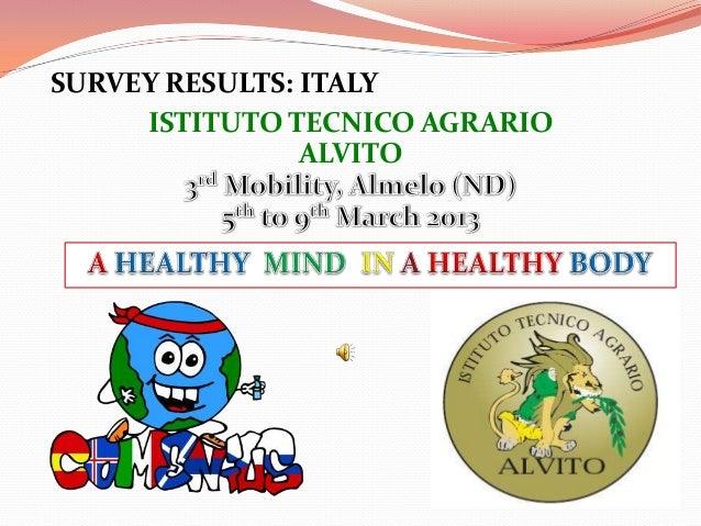 SURVEY RESULTS: ITALY     ISTITUTO TECNICO AGRARIO                ALVITO