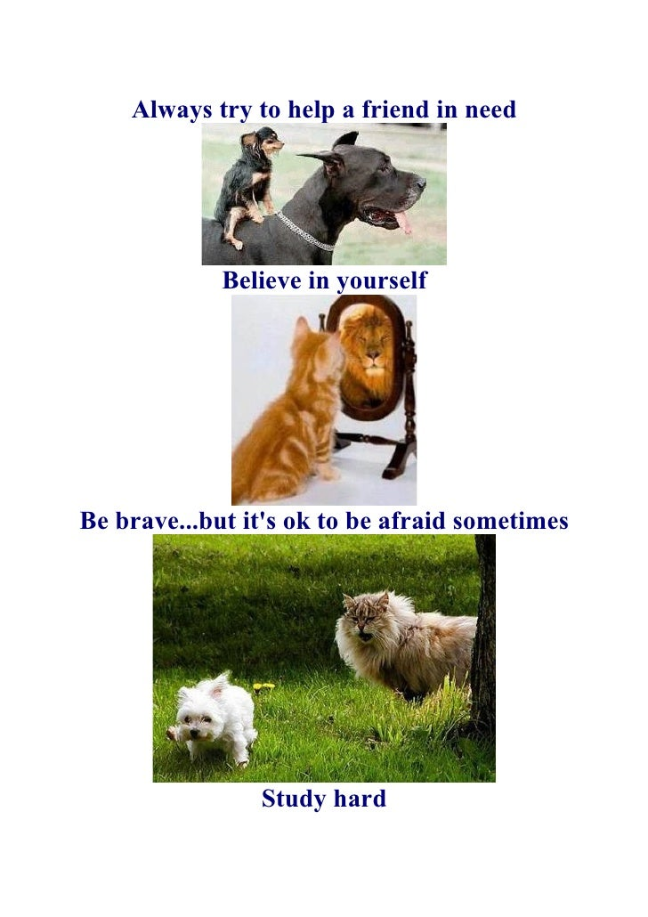 Always try to help a friend in need                  Believe in yourself     Be brave...but it's ok to be afraid sometimes...