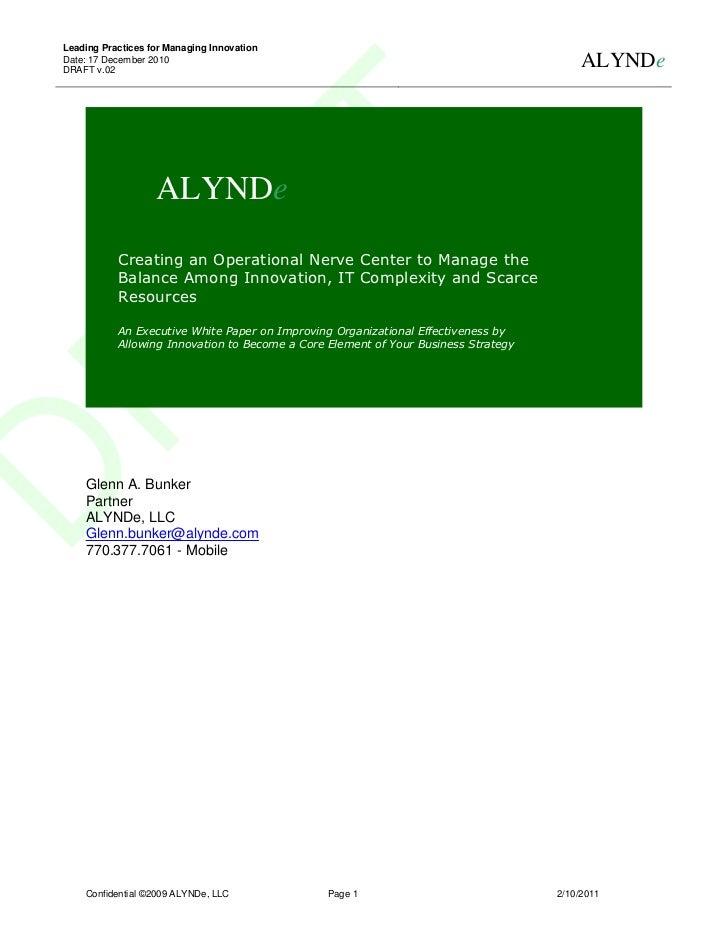 Leading Practices for Managing InnovationDate: 17 December 2010DRAFT v.02                                                 ...