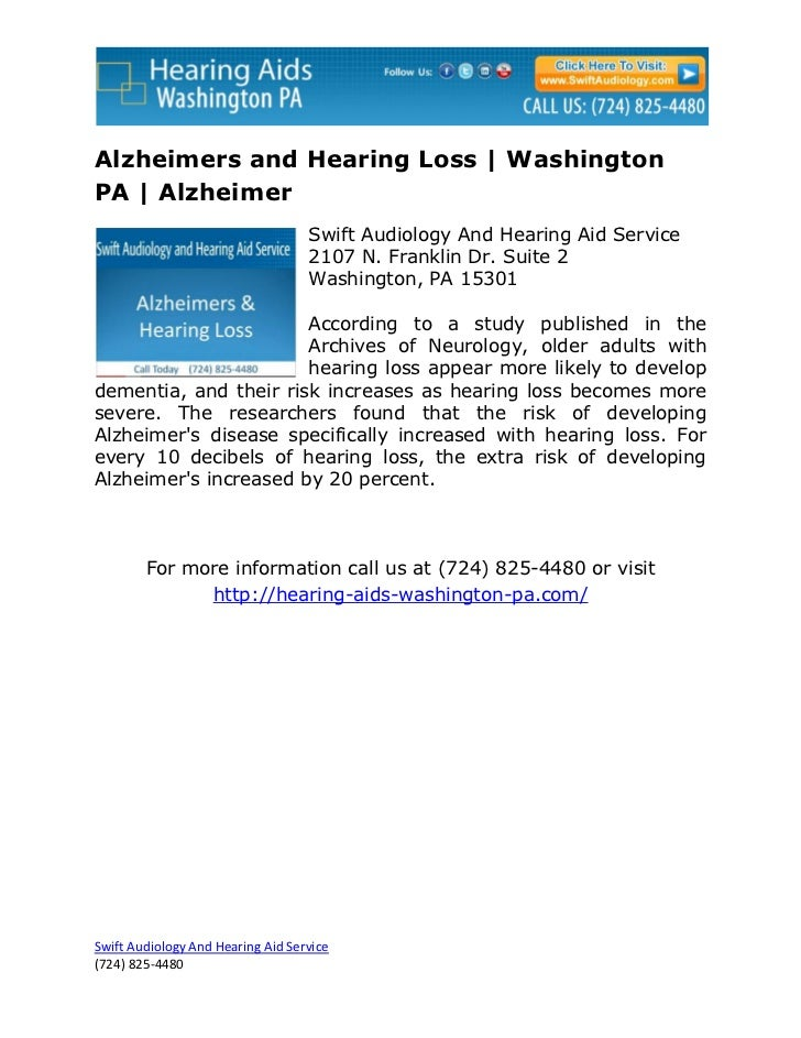 Alzheimers and Hearing Loss | WashingtonPA | Alzheimer                                   Swift Audiology And Hearing Aid S...