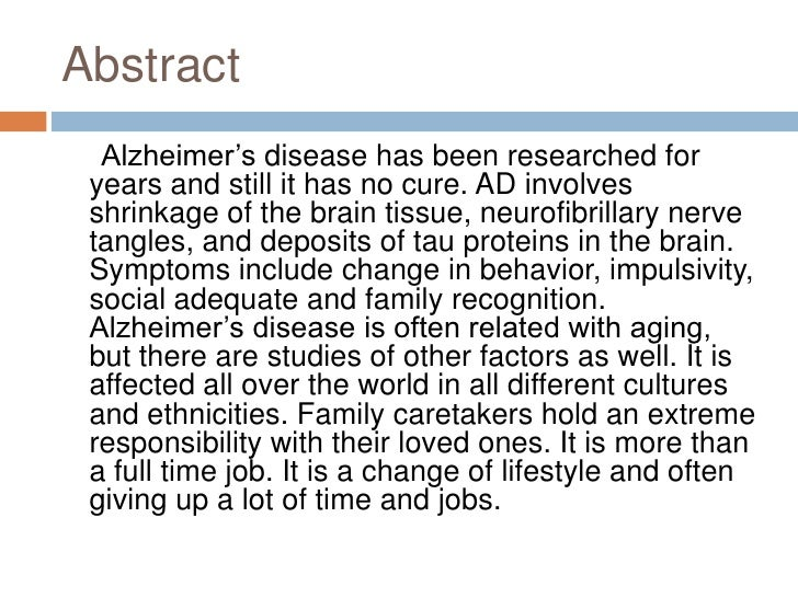 What is a good thesis statement for alzheimer disease