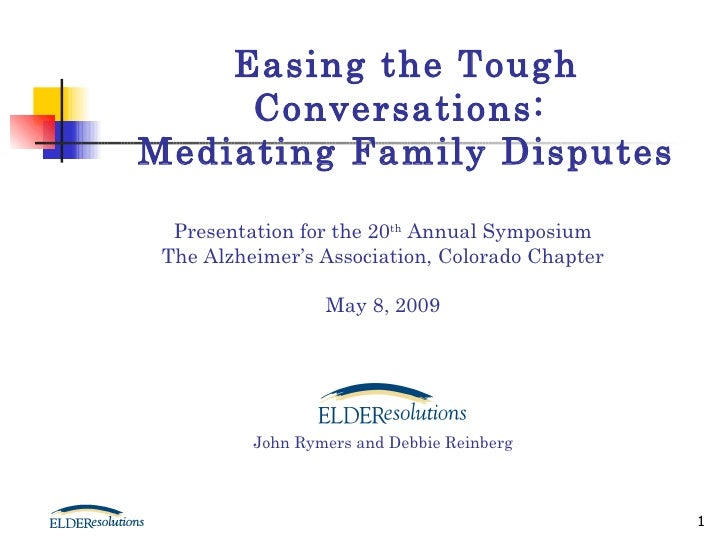 Presentation for the 20 th  Annual Symposium The Alzheimer's Association, Colorado Chapter May 8, 2009 John Rymers and Deb...