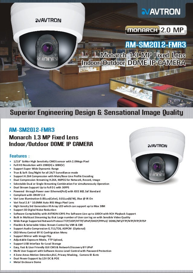 2.0 MP  AM-SM2012-FMR3 Monarch 1.3 MP Fixed Lens Indoor/Outdoor DOME IP CAMERA  Superior Engineering Design & Sensational ...