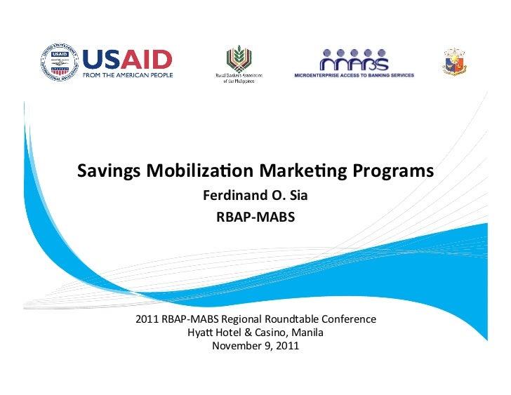 SavingsMobiliza.onMarke.ngPrograms                                                             FerdinandO.Sia      ...
