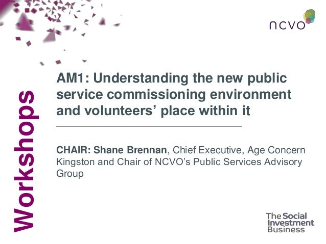 Workshops AM1: Understanding the new public service commissioning environment and volunteers' place within it CHAIR: Shane...