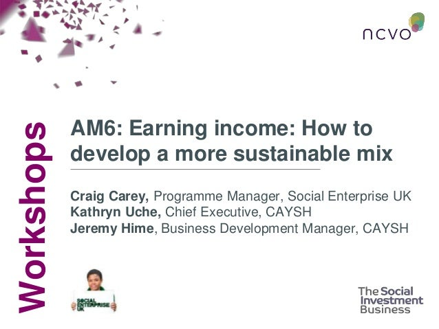 Workshops AM6: Earning income: How to develop a more sustainable mix Craig Carey, Programme Manager, Social Enterprise UK ...