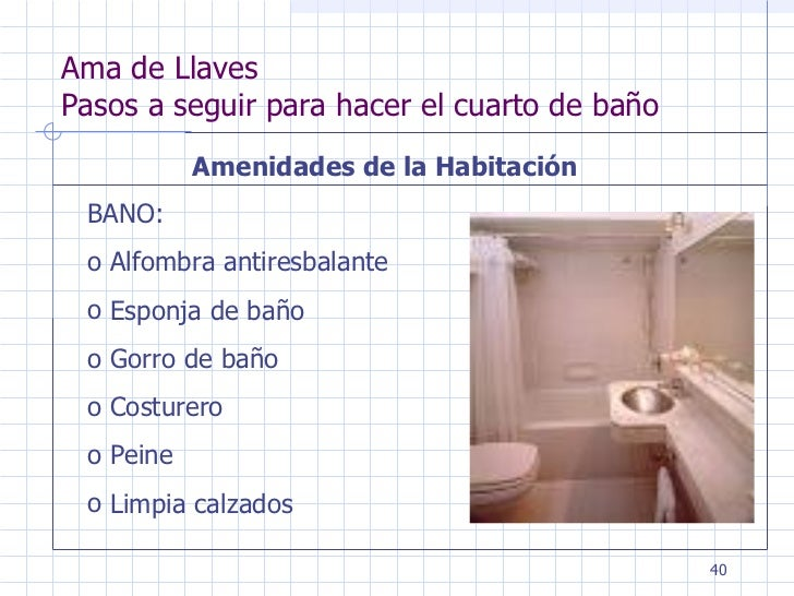 Ama de llaves - Hacer cuarto de bano ...