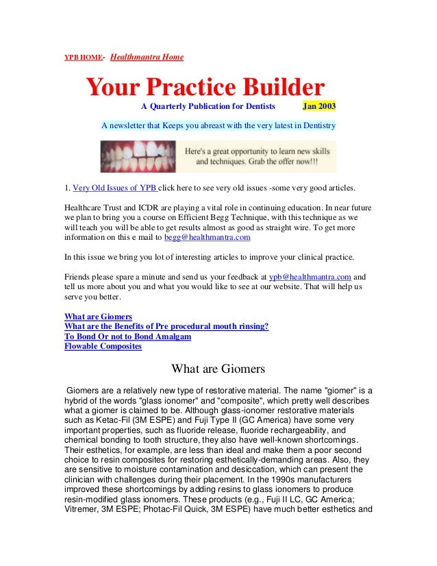 YPB HOME- Healthmantra Home Your Practice Builder A Quarterly Publication for Dentists Jan 2003 A newsletter that Keeps yo...