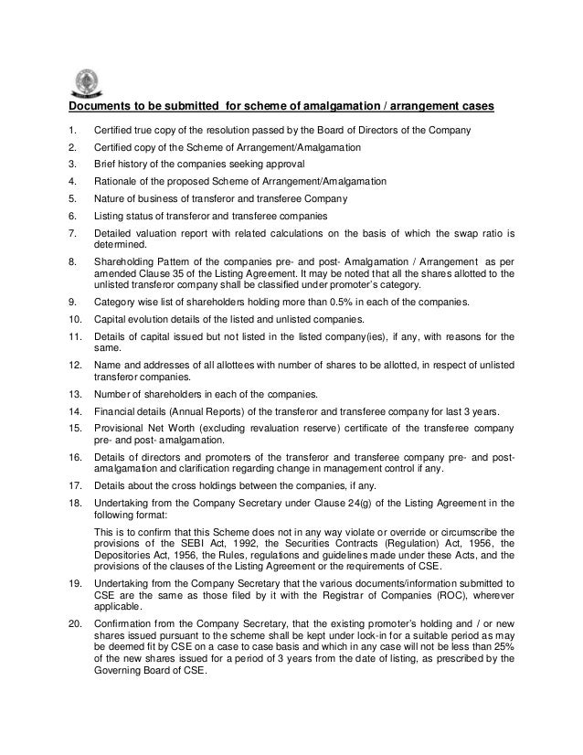 Documents to be submitted for scheme of amalgamation / arrangement cases 1. Certified true copy of the resolution passed b...