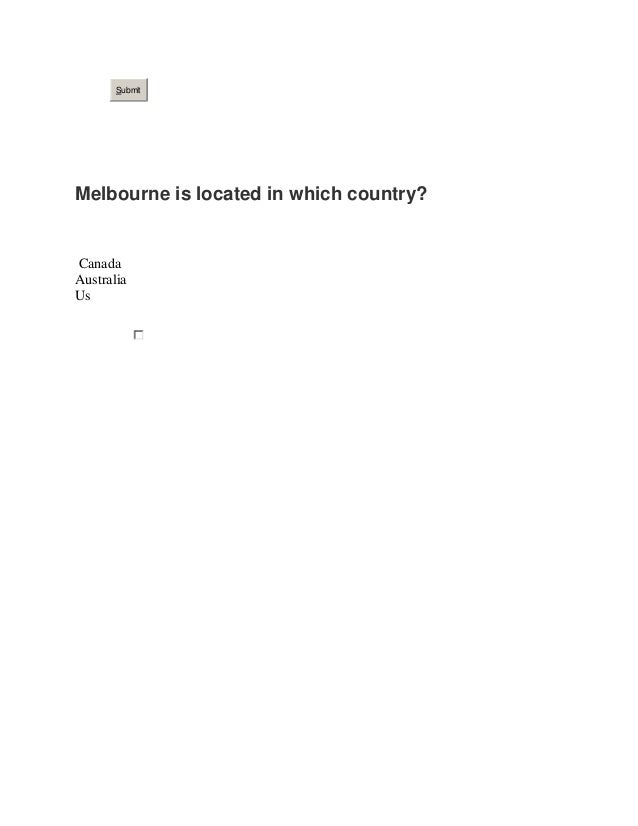 Submit Melbourne is located in which country? Canada Australia Us