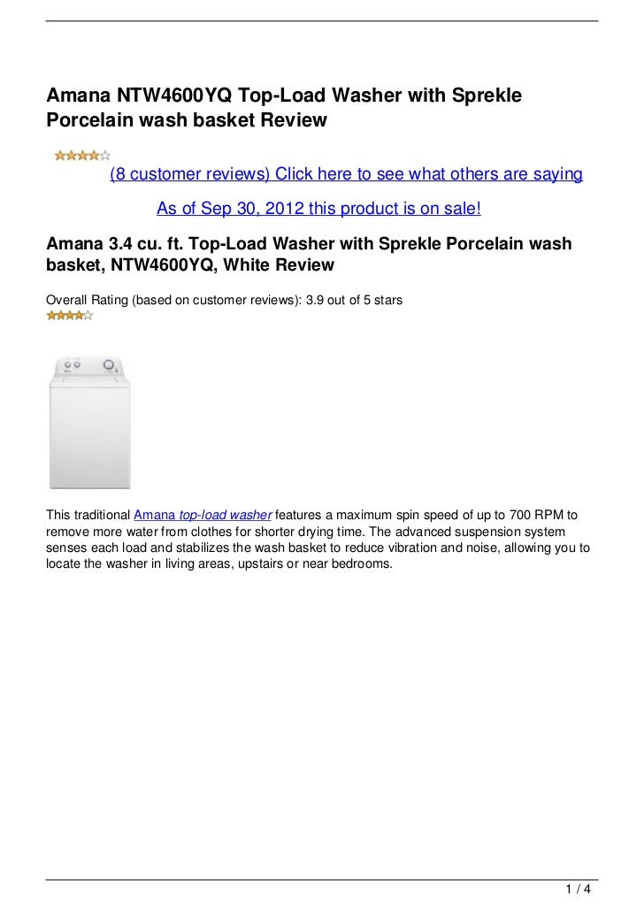 Amana NTW4600YQ Top-Load Washer with SpreklePorcelain wash basket Review           (8 customer reviews) Click here to see ...