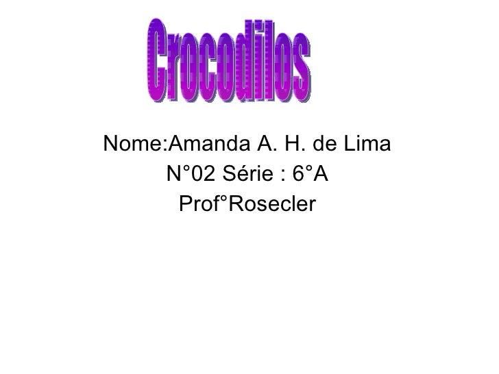 Nome:Amanda A. H. de Lima N°02 Série : 6°A Prof°Rosecler Crocodilos