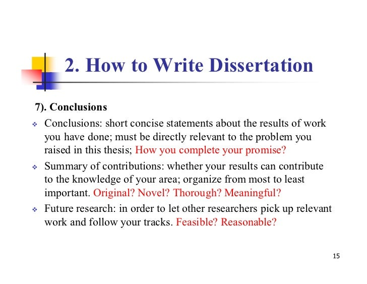 Writing a dissertation conclusion