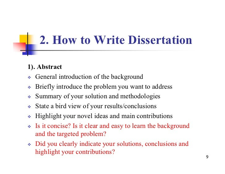 Writing A Dissertation Abstract