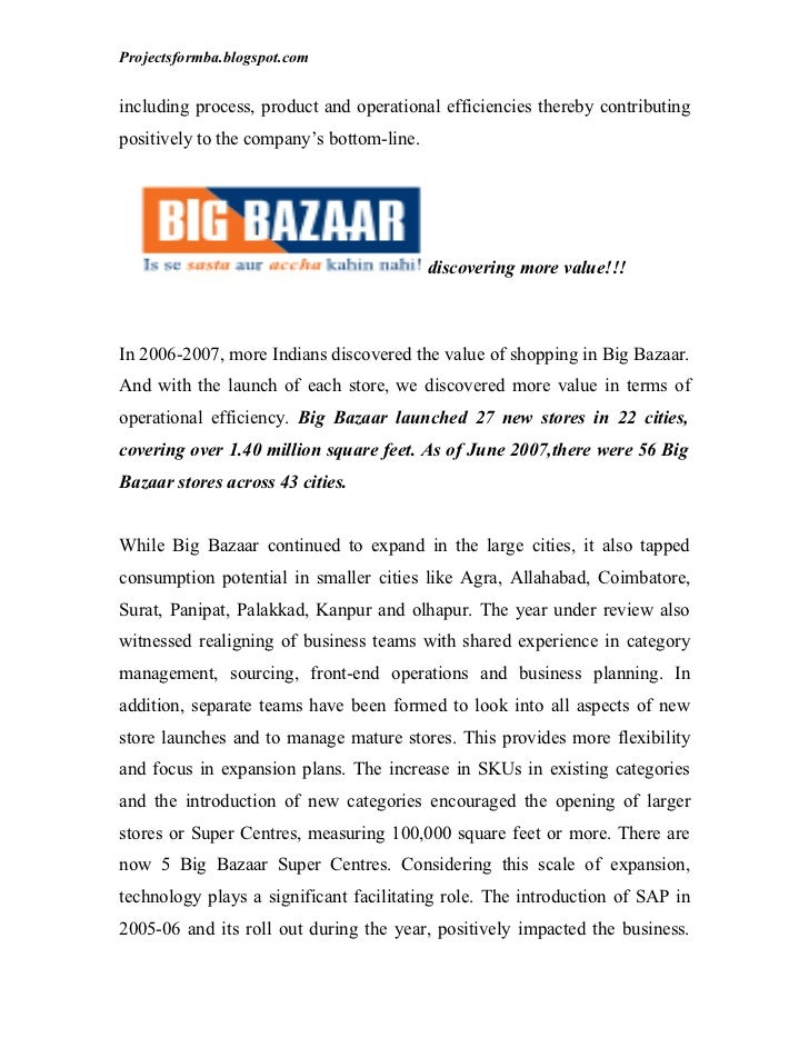 marketing mix of big bazaar project The marketing mix of big bazaar lays out the 7p of big bazaar and shows how big bazaar has achieved such a superior service marketing mixbig bazaar has come up with 3 catchy lines written.