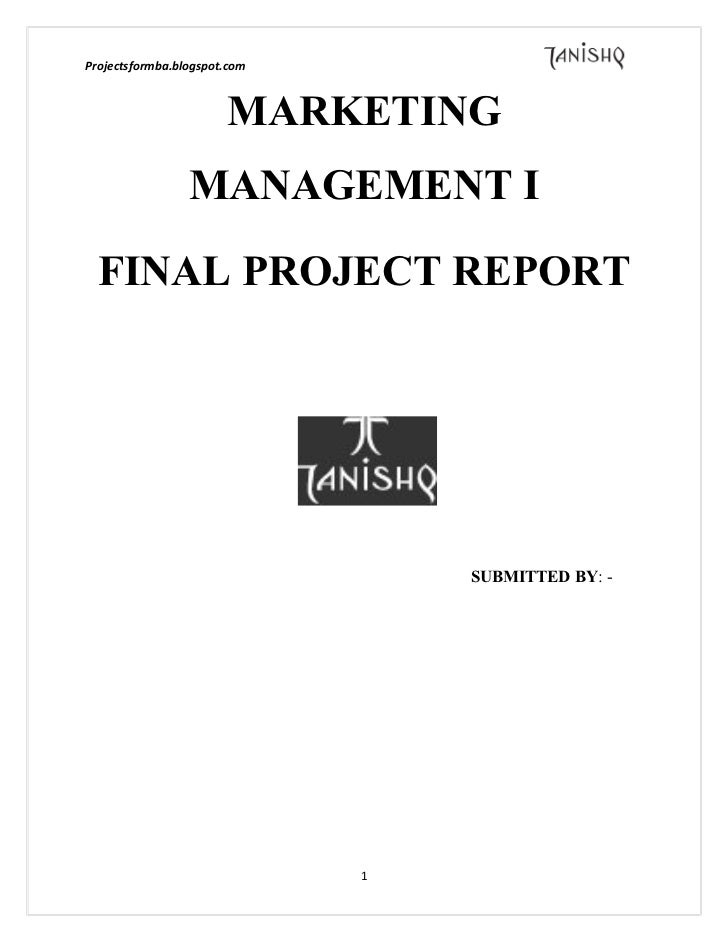 A marketing project report on tanishq
