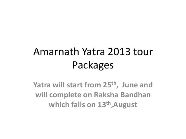 Amarnath Yatra 2013 tour Packages