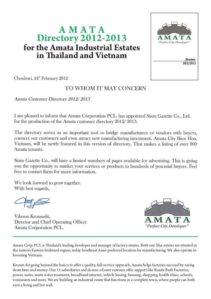 A M ATA               Directory 2012-2013      for the Amata Industrial Estates          in Thailand and Vietnam          ...