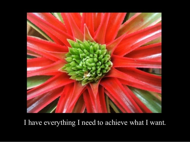 I have everything I need to achieve what I want.