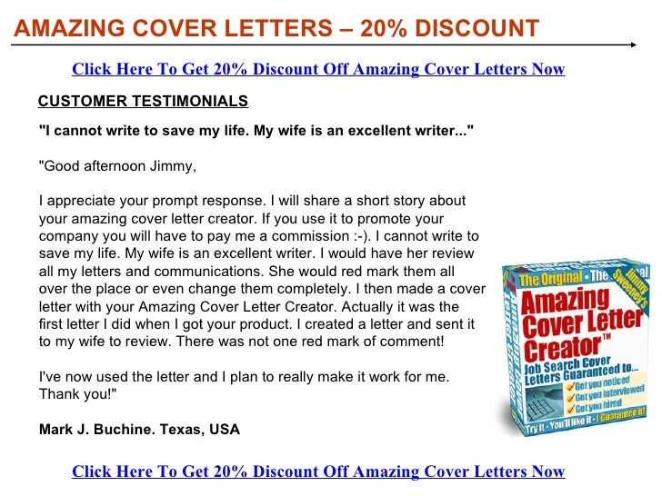 amazing cover letters creator Cover letter builder, a free online tool from livecareer, is the fastest, easiest and most effective way to build a resume cover letter choose from hundreds of templates.